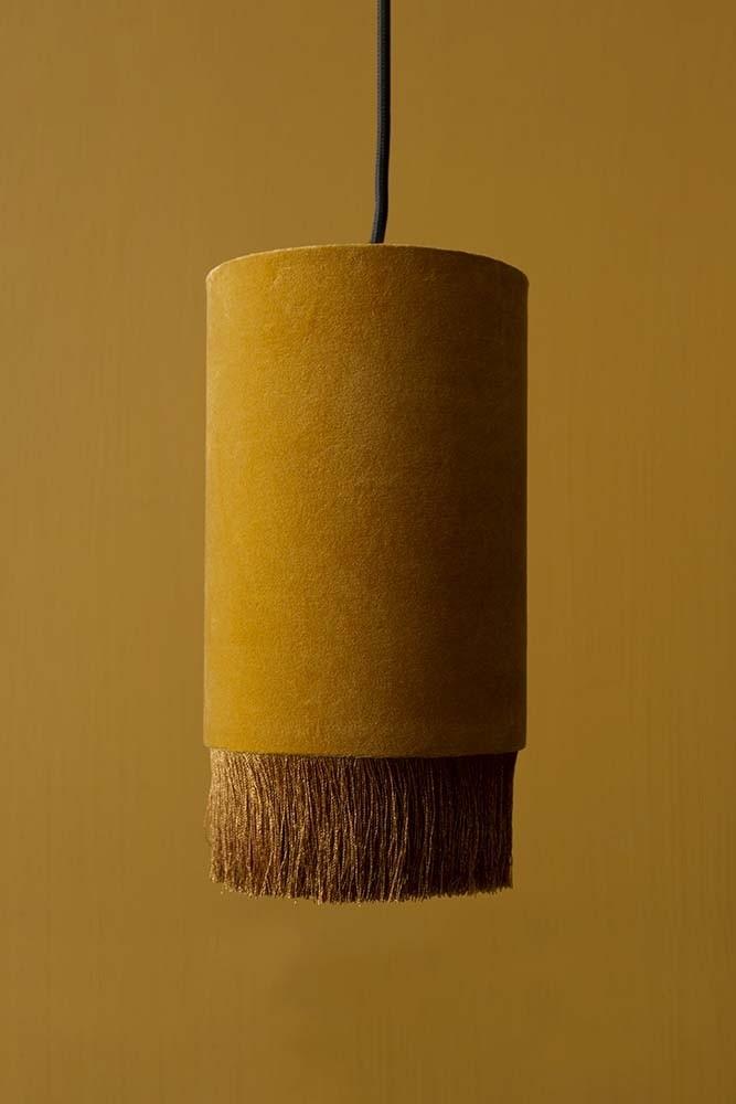 Velvet Pendant Ceiling Light With Fringe Mustard