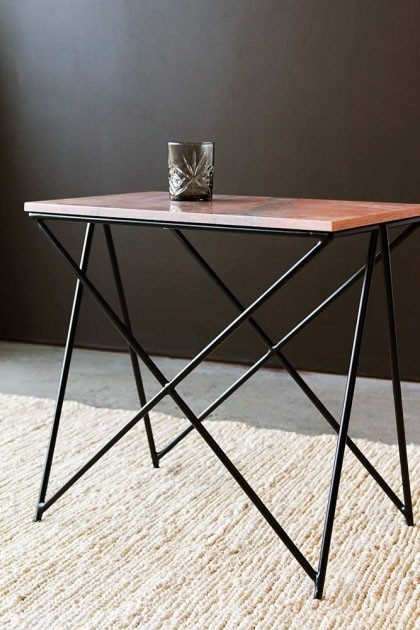 best service fe8a9 183de Rose Tinted Marble Side Table