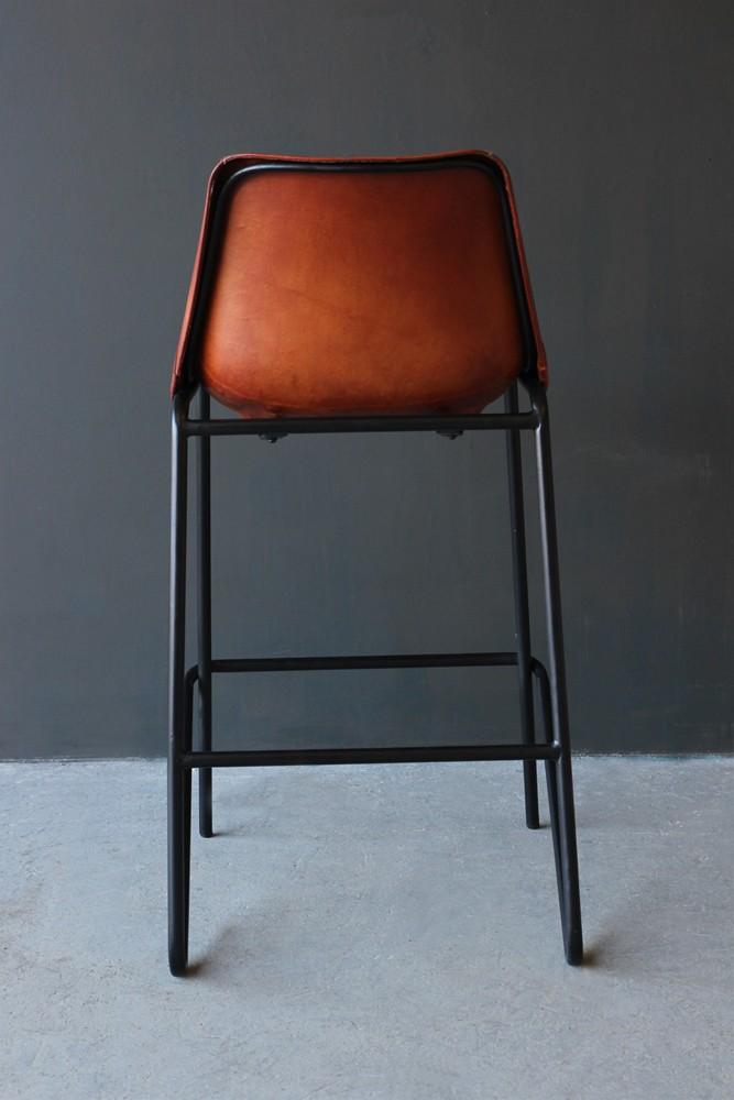 Industrial Leather Bar Stool Brown Rockett St George