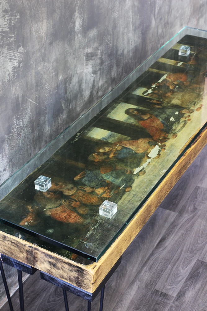 The Last Supper Reclaimed Console Table With Glass Top Rockett St George