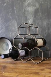 Antique Brass Geo Wine Rack