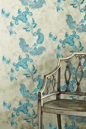 Barneby Gates Paisley Wallpaper - Turquoise on Old Grey