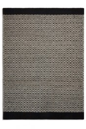 Belle 100% Wool Rug - Black/Natural Diamonds 02 - 2 Sizes Available
