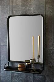 Antique Brown Mirror With Shallow Shelf - Portrait