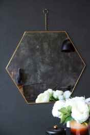 Brass Framed Hexagonal Mirror