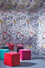 Osborne & Little Butterfly Garden Silver Foil Wallpaper