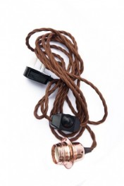 E27 Brown & Copper Flex & Fitting with Dimmer & Plug