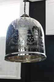 Etched Glass Large Bell Pendant Ceiling Light