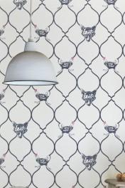 Barneby Gates Wallpaper - Fox & Hen - Charcoal & Parchment