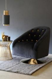 Gold Spot Black Velvet Swivel Tub Armchair