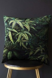 Green Jungle Leaf Velvet Cushion
