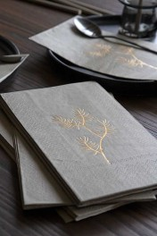 Pack Of 20 Silver Grey Paper Napkins with Gold Floral Design