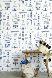 Hibou Home Teepees, A Tribal Gathering Children's Wallpaper - Indigo/White