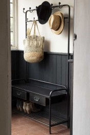 Industrial-Style Black Metal Hallway Storage Coat Rack