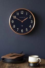 Newgate Mid-Century Style Petrol Blue & Copper Wall Clock