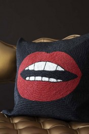 Red Hot Lips Glamorous Beaded Cushion