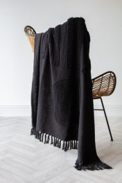 Black Multi-Texture Hand-Spun Cotton Throw