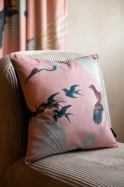 Blush Pink Birds Print Velvet Cushion