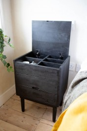 Bureau-Style Black Mango Wood Bedside Table