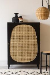 Sungkai Woven Cane & Mango Wood Single Door Cabinet - Black