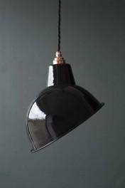 Angled Cloche Enamel Shade - Black