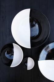 Handmade Moroccan Black & White Dinner Plate - 27cm