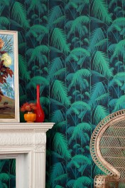 Cole & Son Contemporary Restyled - Palm Jungle Wallpaper - Green on Black