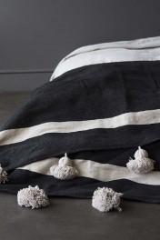 Cotton Pom Pom Blanket 200x300cm - Black With Natural Pom Poms