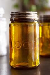 Amber Recycled Glass Storage Jar - Loot
