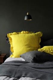 Olivia Soft Linen Frill Cushion - Acid Yellow