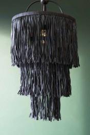 Leather Tassel Chandelier - Black