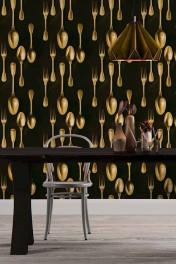Mind The Gap The Antiquerian - Cutlery Wallpaper - Brass