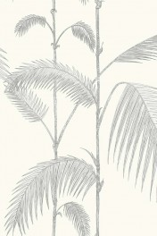 Cole & Son Contemporary Restyled - Palm Wallpaper - Soft Grey on White