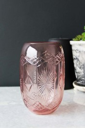 Rose Pink Cut Glass Carmel Vase