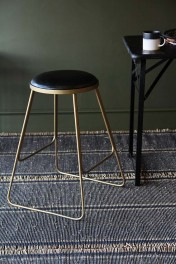 Stackable Bar Stool - Black with Gold Legs