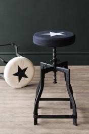 Adjustable Bar Stool With Star Design Canvas Seat - Black