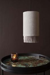 Velvet Pendant Ceiling Light With Fringe - Ice Grey