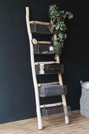 Wooden Ladder With 5 Basket Shelves