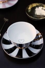Stripy Teacup and Saucer Black/White