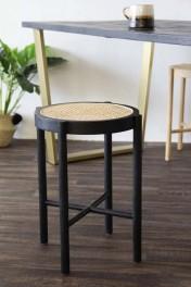 Sungkai Woven Cane Wooden Stool - Black
