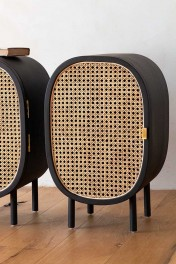 Set Of 2 Sungkai Woven Cane & Mango Wood Bedside Cabinets