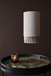 Velvet Pendant Ceiling Light With Fringe - Ice Grey