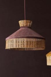 Velvet & Rattan Pendant Ceiling Light - Burgundy