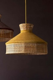 Velvet & Rattan Pendant Ceiling Light - Gold Mustard