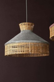 Velvet & Rattan Pendant Ceiling Light - Silver Grey