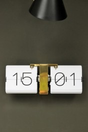 White Flip Clock With Brass Stand
