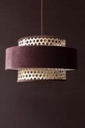 Woven Cane & Velvet Cylinder Pendant Ceiling Light - Burgundy
