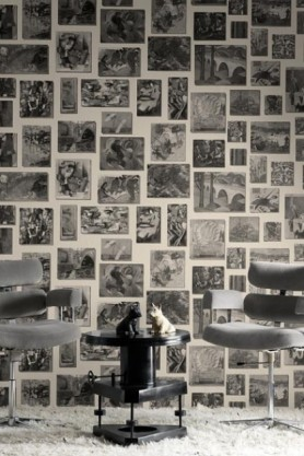 lifestyle image of Andrew Martin Rockefeller Wallpaper - 2 Colours Available with two grey chairs and black side table