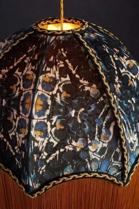detail image of top of Anna Hayman Designs Siouxsie Lamp Shade on dark blue wall background