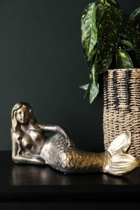 Antique Gold Lying Mermaid